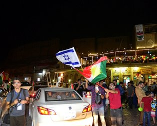 Erbilde İsrail bayrağıyla kutlama