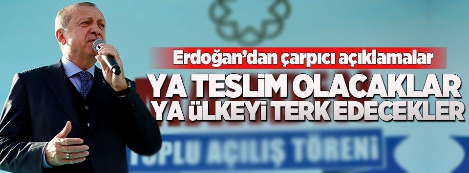Erdoğan: Ya teslim olacaklar ya ülkeyi terk edecekler