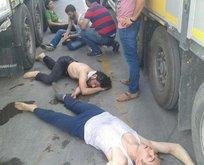 Teröristler TIR'da bayılmak üzereyken bulundu!