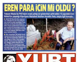 CHP'nin gazetesinden şehit Eren'e alçak iftira