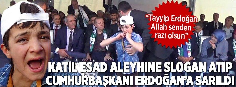 Suriyeli çocuk Erdoğana sarılıp teşekkür etti